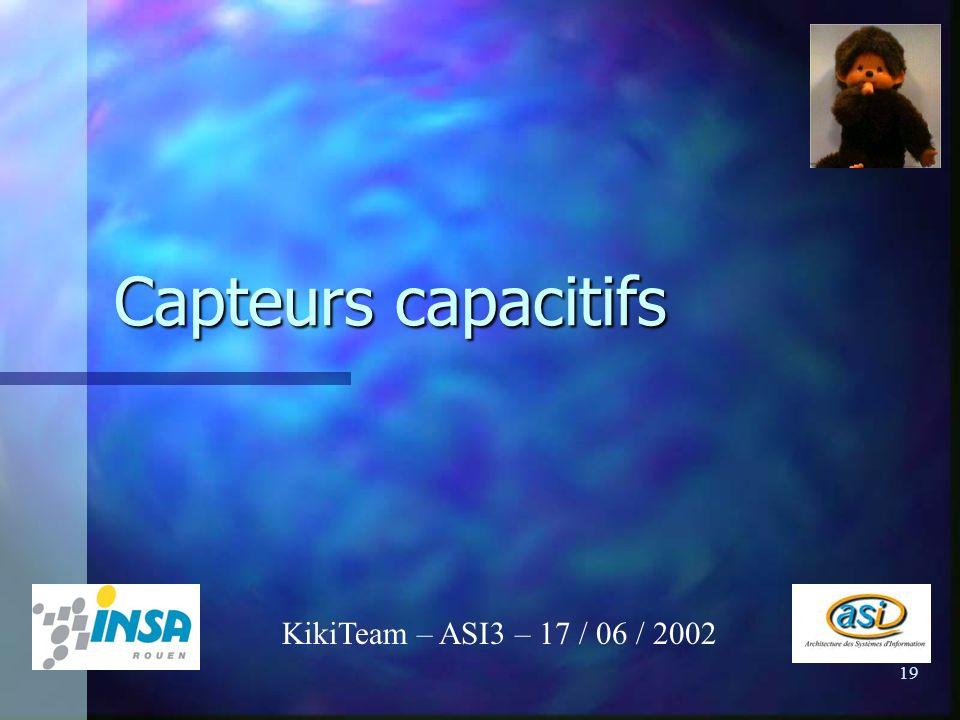 19 Capteurs capacitifs KikiTeam – ASI3 – 17 / 06 / 2002