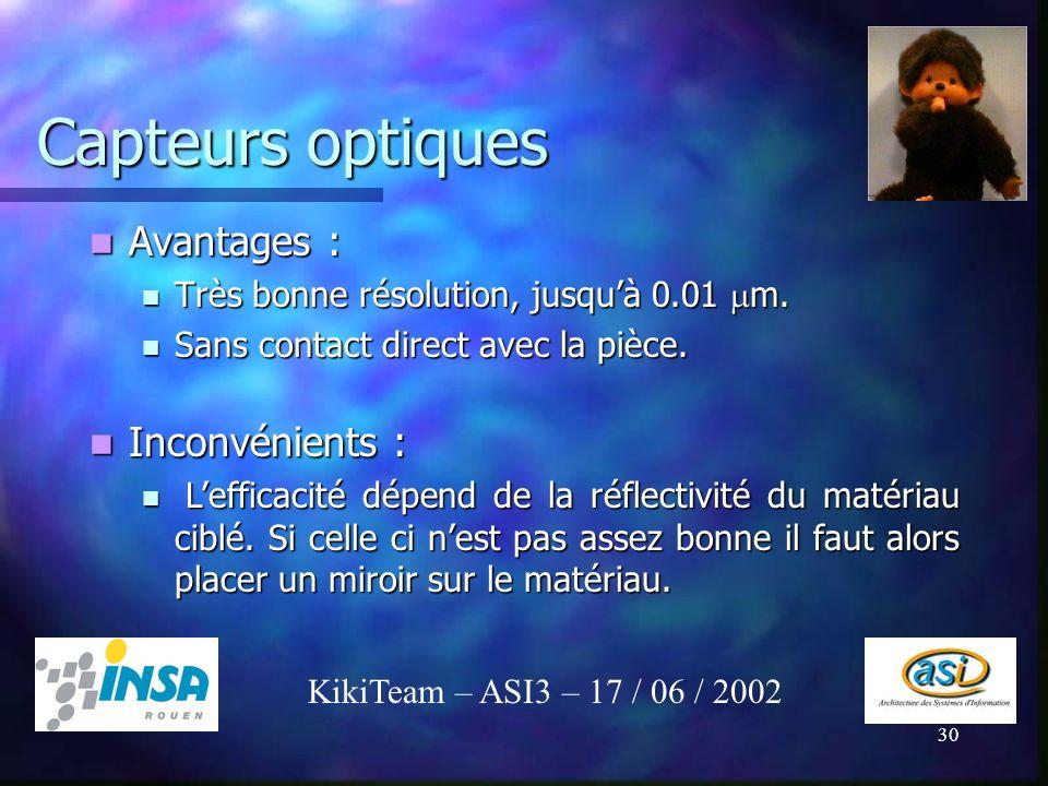 30 Capteurs optiques Avantages : Avantages : Très bonne résolution, jusquà 0.01 m. Très bonne résolution, jusquà 0.01 m. Sans contact direct avec la p
