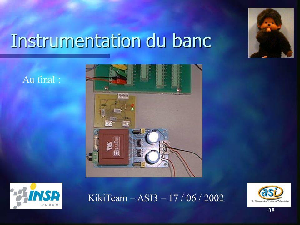 38 Instrumentation du banc KikiTeam – ASI3 – 17 / 06 / 2002 Au final :