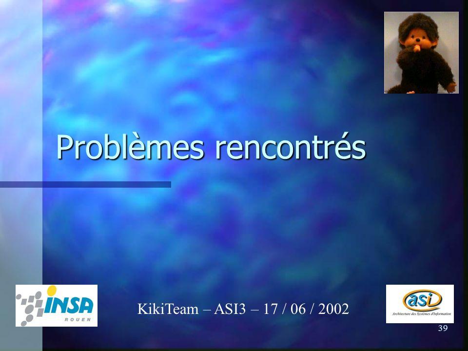 39 Problèmes rencontrés KikiTeam – ASI3 – 17 / 06 / 2002