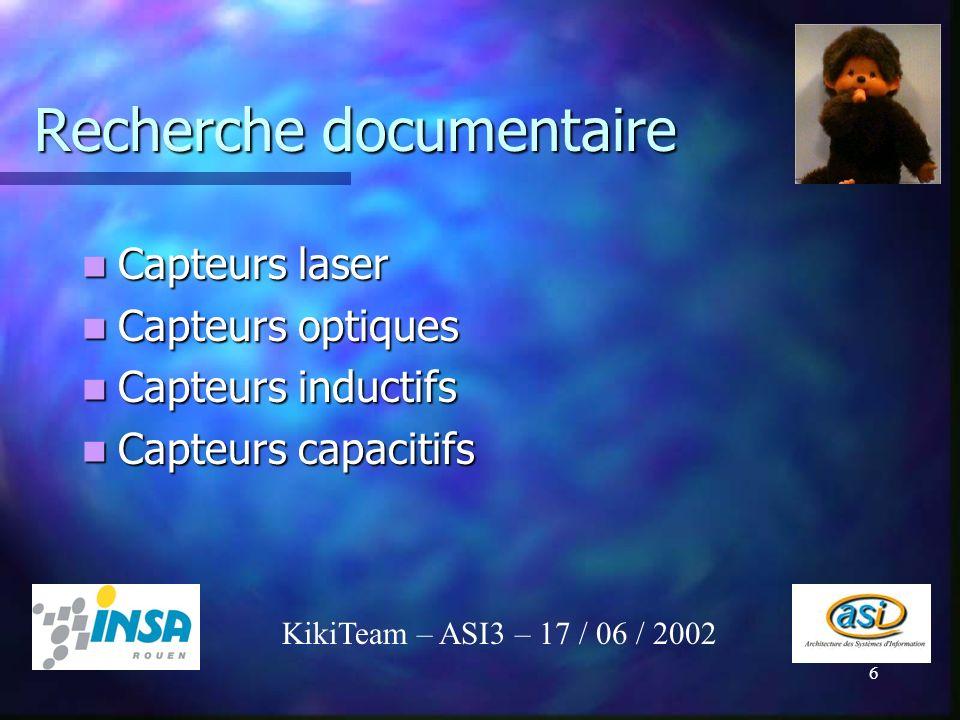 6 Recherche documentaire Capteurs laser Capteurs laser Capteurs optiques Capteurs optiques Capteurs inductifs Capteurs inductifs Capteurs capacitifs C