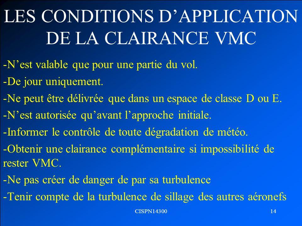 CISPN1430014 LES CONDITIONS DAPPLICATION DE LA CLAIRANCE VMC -Nest valable que pour une partie du vol. -De jour uniquement. -Ne peut être délivrée que