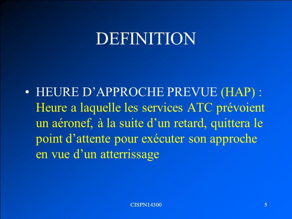 CISPN143005 DEFINITION HEURE DAPPROCHE PREVUE (HAP) : Heure a laquelle les services ATC prévoient un aéronef, à la suite dun retard, quittera le point
