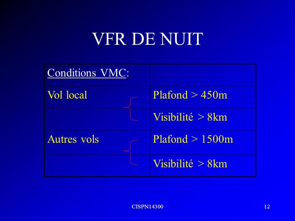 CISPN1430012 VFR DE NUIT Conditions VMC: Vol localPlafond > 450m Visibilité > 8km Autres volsPlafond > 1500m Visibilité > 8km