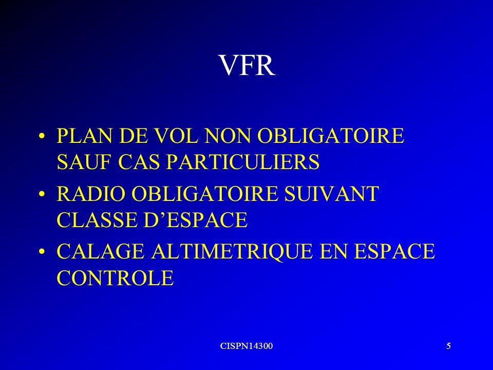 CISPN143005 VFR PLAN DE VOL NON OBLIGATOIRE SAUF CAS PARTICULIERS RADIO OBLIGATOIRE SUIVANT CLASSE DESPACE CALAGE ALTIMETRIQUE EN ESPACE CONTROLE