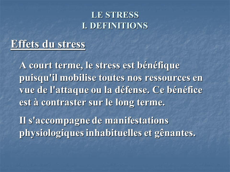 LE STRESS I. DEFINITIONS Effets du stress A court terme, le stress est bénéfique puisqu'il mobilise toutes nos ressources en vue de l'attaque ou la dé
