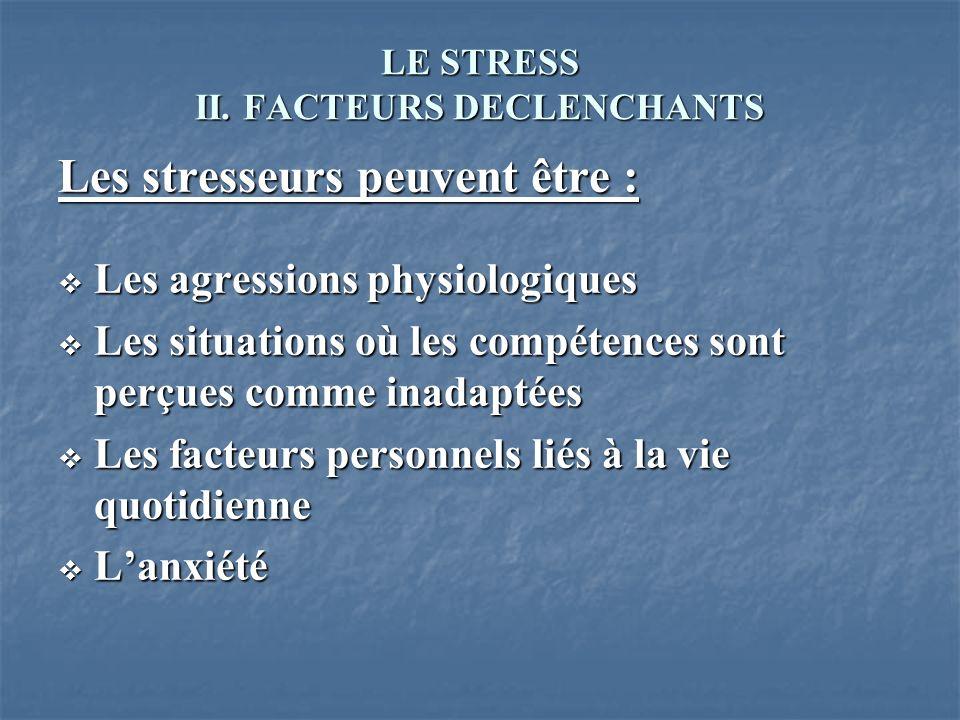 LE STRESS II. FACTEURS DECLENCHANTS Les stresseurs peuvent être : Les agressions physiologiques Les agressions physiologiques Les situations où les co