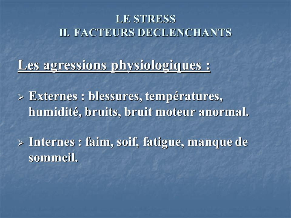 LE STRESS II. FACTEURS DECLENCHANTS Les agressions physiologiques : Externes : blessures, températures, humidité, bruits, bruit moteur anormal. Extern