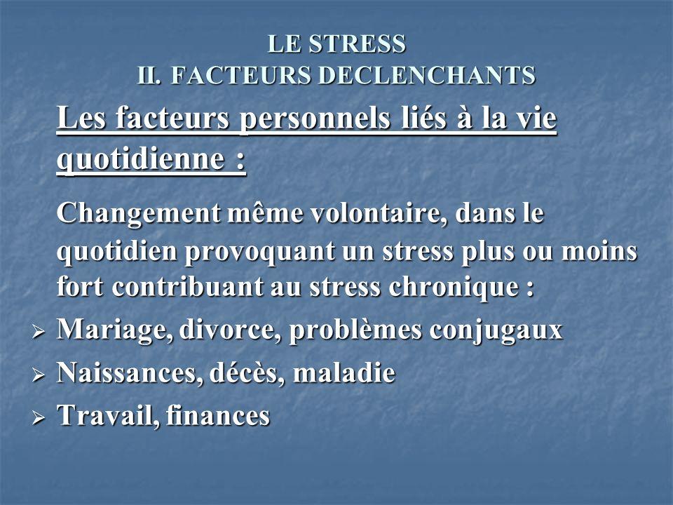 LE STRESS II. FACTEURS DECLENCHANTS Les facteurs personnels liés à la vie quotidienne : Changement même volontaire, dans le quotidien provoquant un st