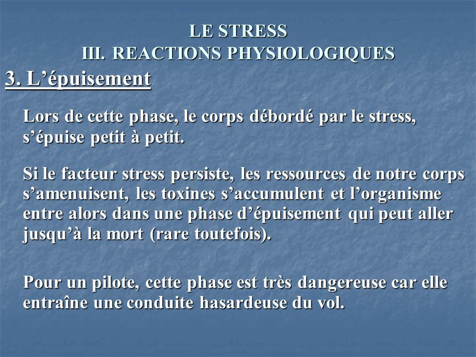 LE STRESS III. REACTIONS PHYSIOLOGIQUES 3. Lépuisement Lors de cette phase, le corps débordé par le stress, sépuise petit à petit. Si le facteur stres