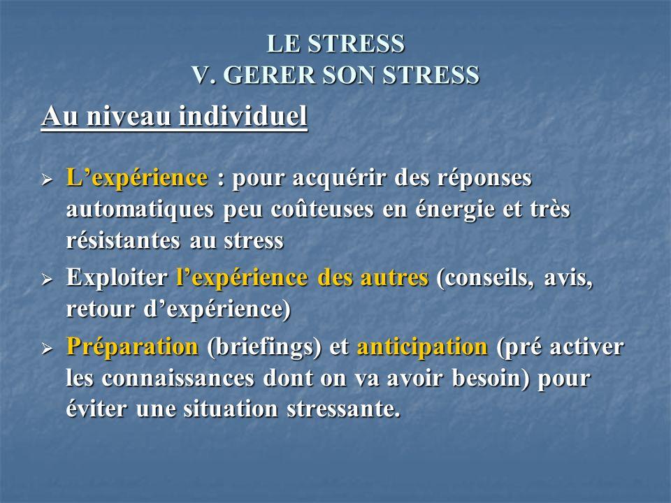 LE STRESS V. GERER SON STRESS Au niveau individuel Lexpérience : pour acquérir des réponses automatiques peu coûteuses en énergie et très résistantes