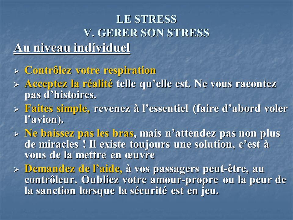 LE STRESS V. GERER SON STRESS Au niveau individuel Contrôlez votre respiration Contrôlez votre respiration Acceptez la réalité telle quelle est. Ne vo