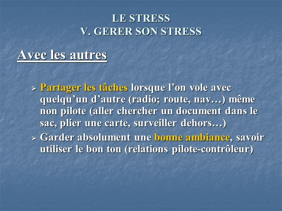 LE STRESS V. GERER SON STRESS Avec les autres Partager les tâches lorsque lon vole avec quelquun dautre (radio; route, nav…) même non pilote (aller ch