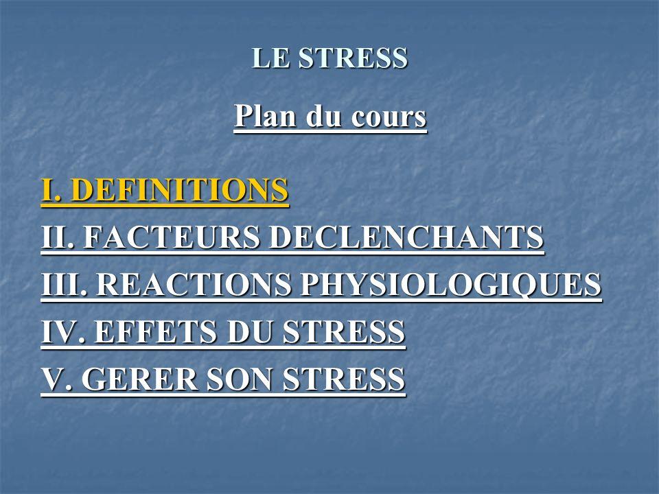 LE STRESS III. REACTIONS PHYSIOLOGIQUES 1. La phase dalarme