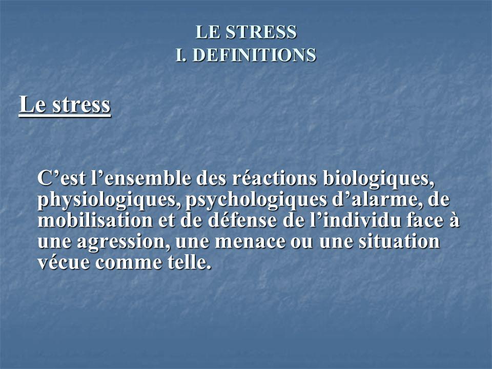 LE STRESS I. DEFINITIONS Le stress Cest lensemble des réactions biologiques, physiologiques, psychologiques dalarme, de mobilisation et de défense de