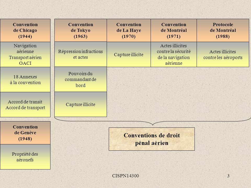 CISPN143003 Convention de Chicago (1944) Navigation aérienne Transport aérien OACI 18 Annexes à la convention Accord de transit Accord de transport Co