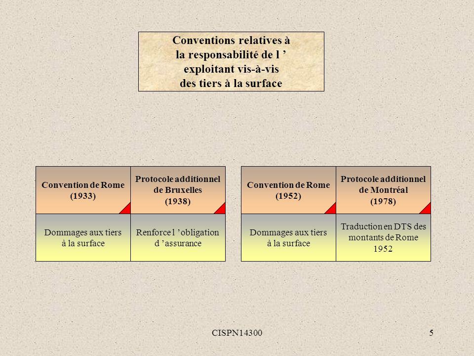 CISPN143005 Convention de Rome (1933) Dommages aux tiers à la surface Protocole additionnel de Bruxelles (1938) Renforce l obligation d assurance Conv