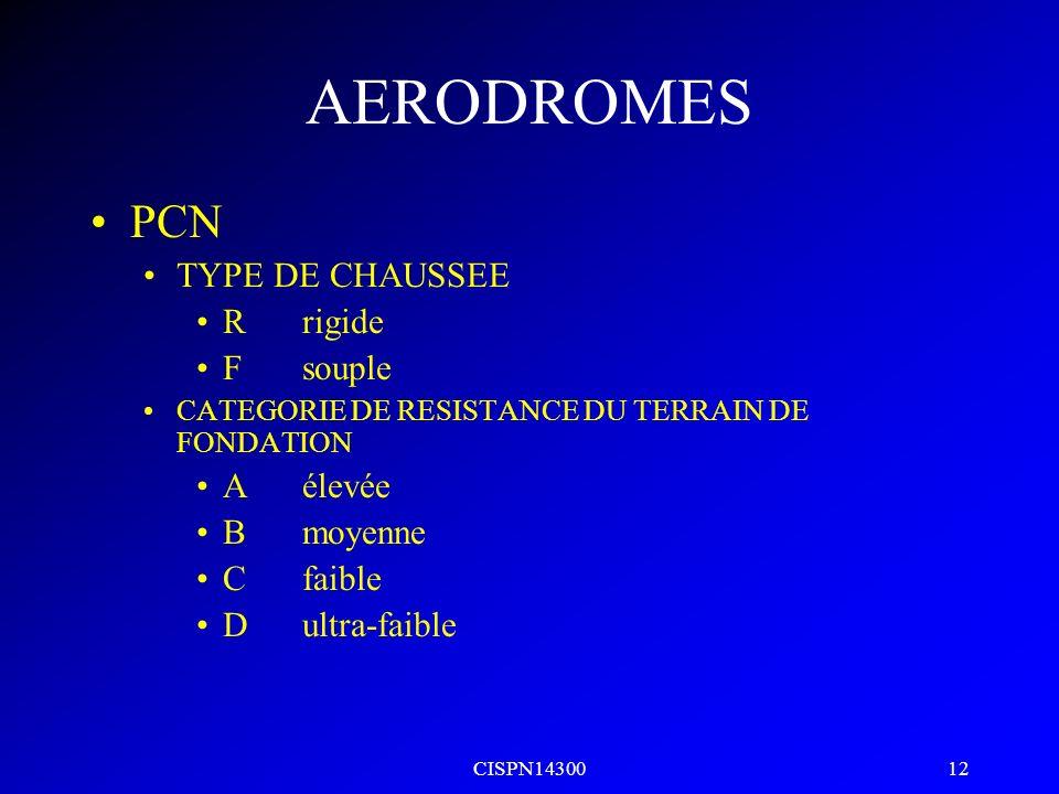 CISPN14300 11 AERODROMES Largeur de voie de circulation A14 p20 Lettre de code A7,5m B10,5m C15m si empattement avion<18m 18m si empattement avion>=18