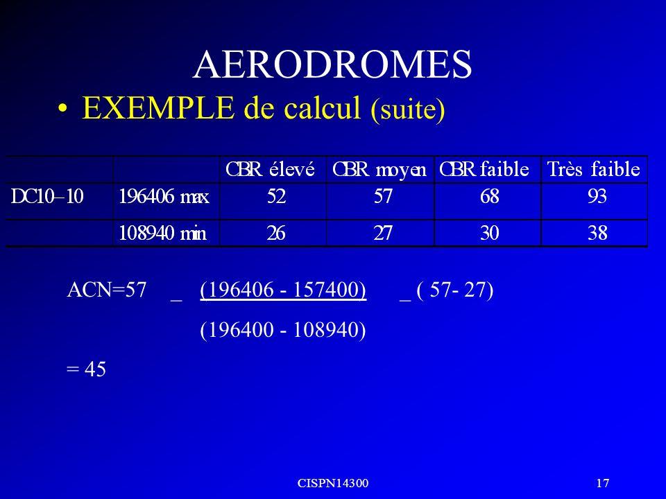 CISPN14300 16 AERODROMES EXEMPLE de calcul ACN dun DC10-10 ayant une masse de 157400kg devant utiliser une chaussée souple ayant un degré de résistanc