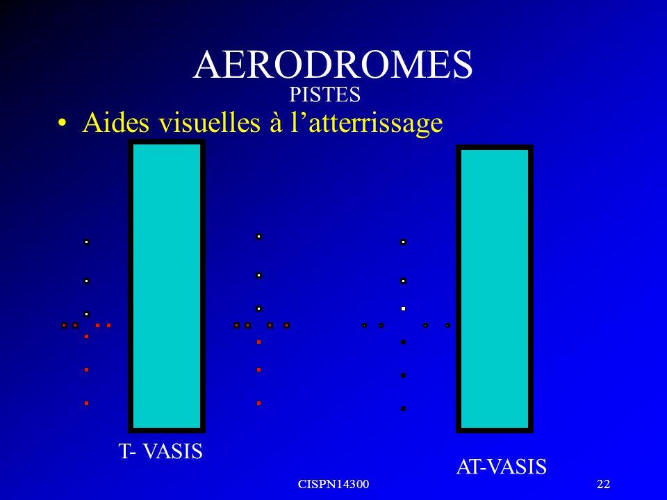 CISPN14300 21 AERODROMES Aides visuelles à latterrissage VASIS on glide AVASIS high PISTES