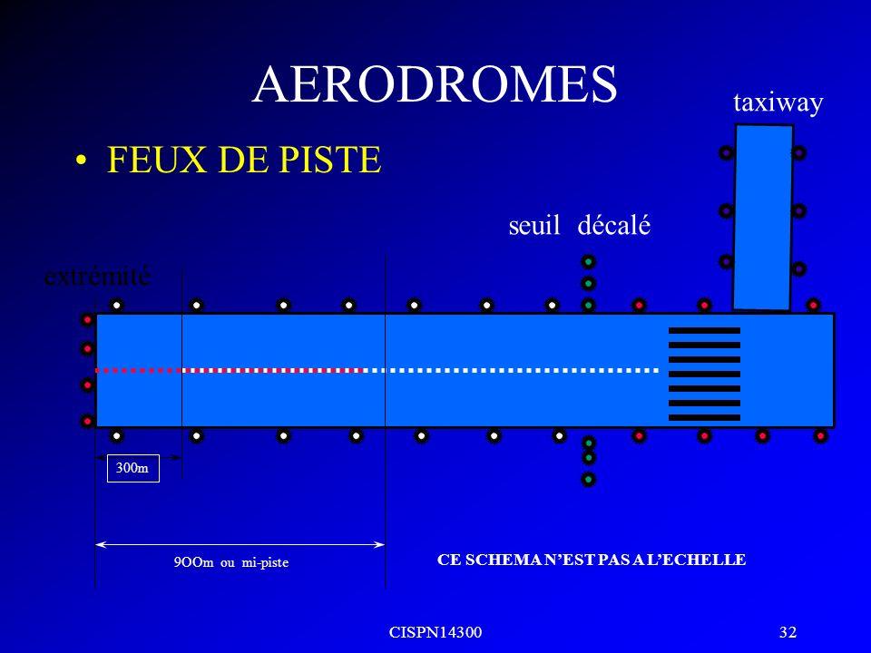 CISPN14300 31 AERODROMES FEUX DE PISTE seuil extrémité taxiway 300m 9OOm ou mi-piste CE SCHEMA NEST PAS A LECHELLE