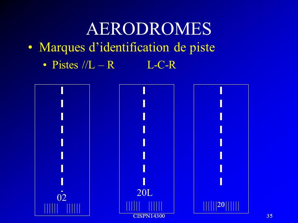 CISPN14300 34 AERODROMES Nombre de bandes symétrique / axe de piste Largeur de pisteNb de bandes 18m4 23m6 30m8 45m12 60m16