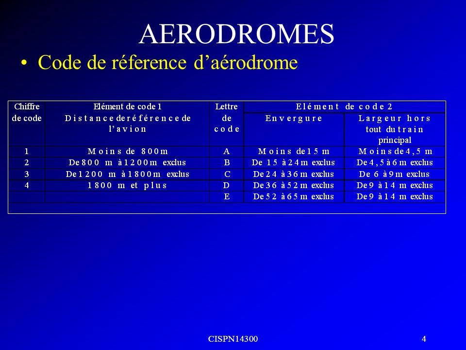 CISPN14300 3 AERODROMES DISTANCE DE REFERENCE longueur minimale nécessaire pour le décollage au poids maximal certifié au décollage, au niveau de la m