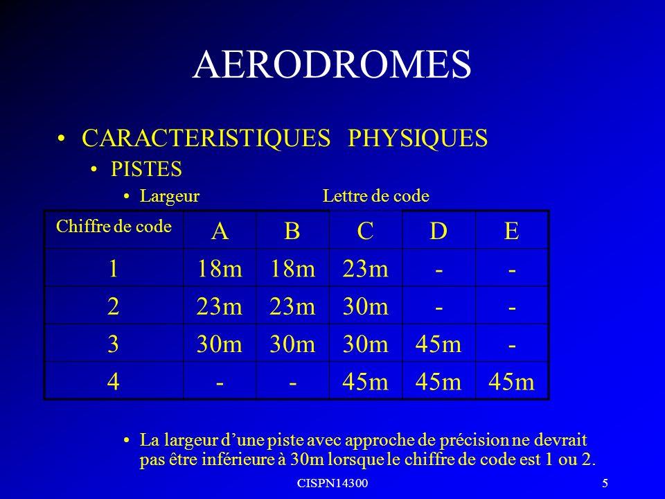 CISPN14300 4 AERODROMES Code de réference daérodrome