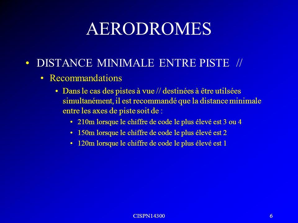 CISPN14300 5 AERODROMES CARACTERISTIQUES PHYSIQUES PISTES Largeur Lettre de code La largeur dune piste avec approche de précision ne devrait pas être