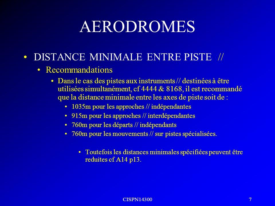 CISPN14300 6 AERODROMES DISTANCE MINIMALE ENTRE PISTE // Recommandations Dans le cas des pistes à vue // destinées à être utilsées simultanément, il e