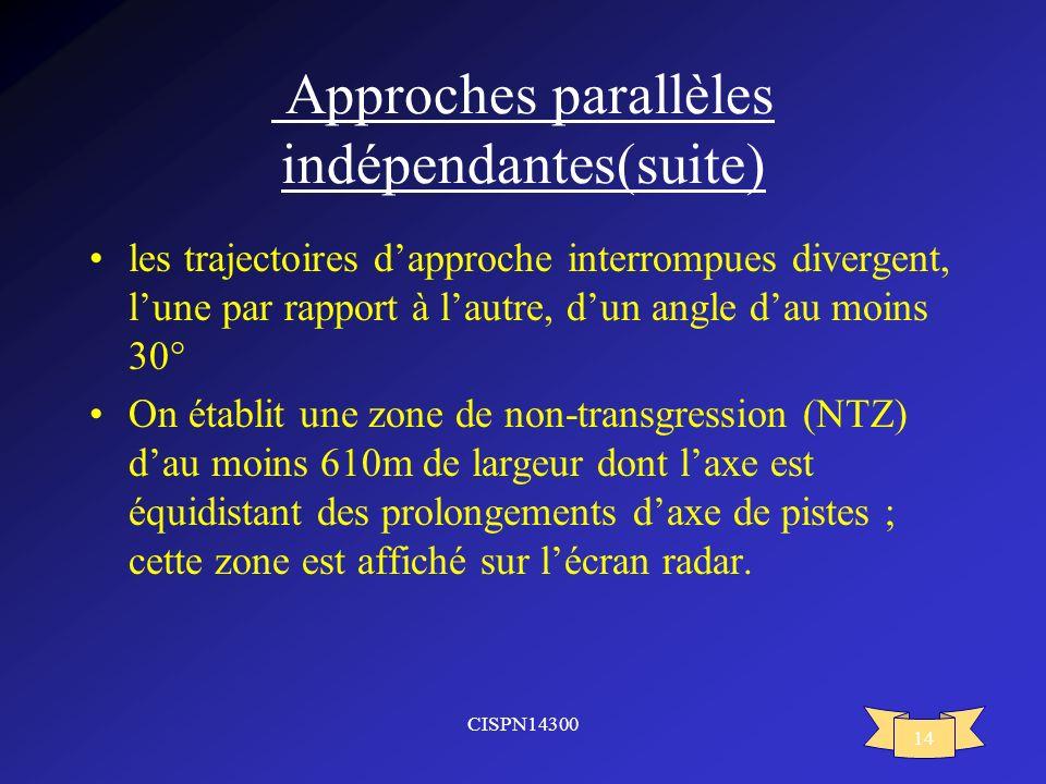 CISPN14300 14 Approches parallèles indépendantes(suite) les trajectoires dapproche interrompues divergent, lune par rapport à lautre, dun angle dau mo