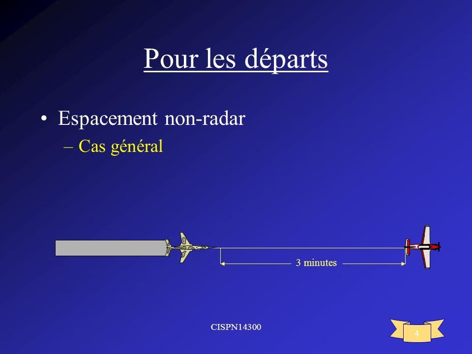 CISPN14300 4 Pour les départs Espacement non-radar –Cas général 3 minutes