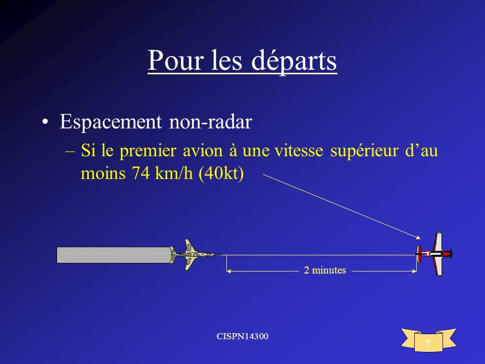 CISPN14300 5 Pour les départs Espacement non-radar –Si le premier avion à une vitesse supérieur dau moins 74 km/h (40kt) 2 minutes