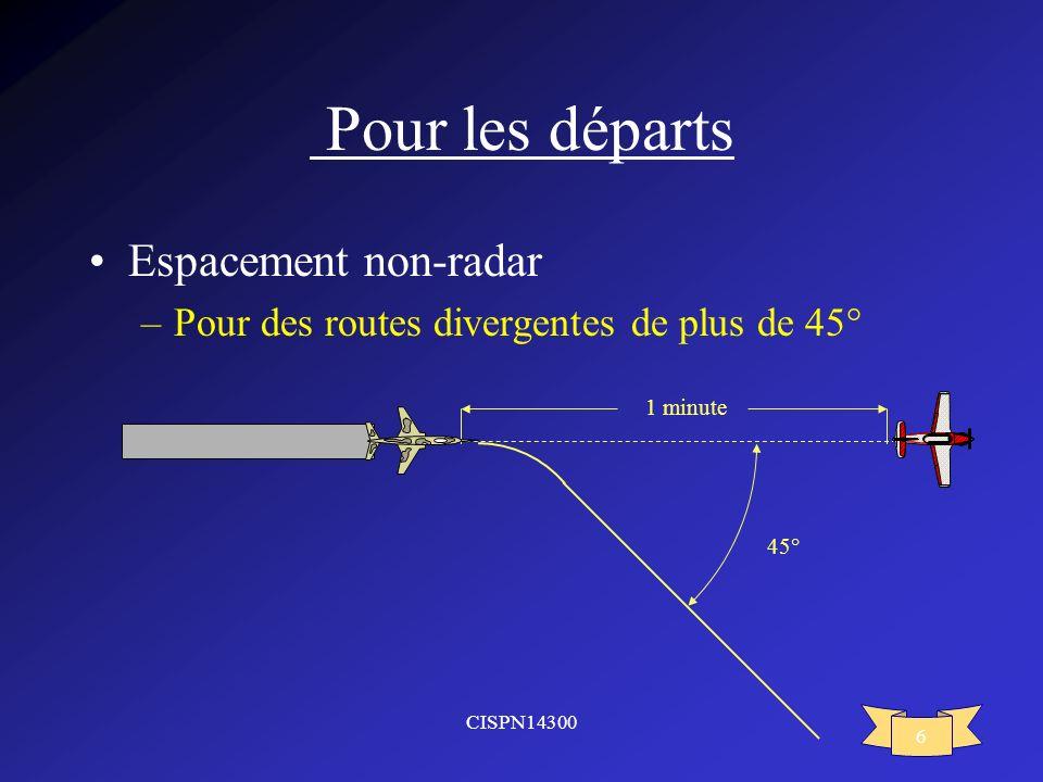 CISPN14300 6 Pour les départs Espacement non-radar –Pour des routes divergentes de plus de 45° 1 minute 45°