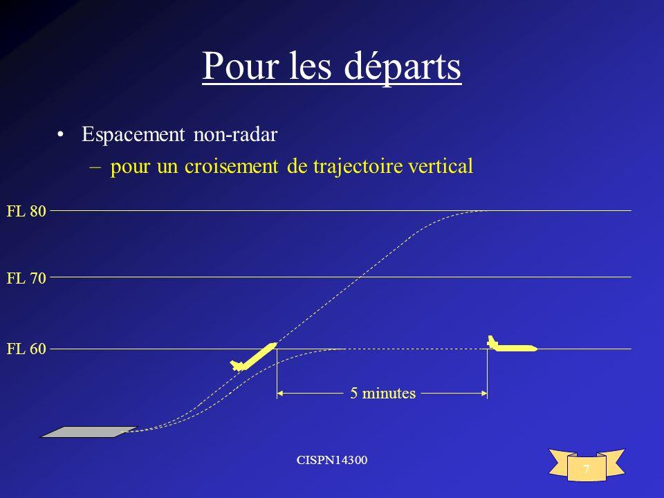 CISPN14300 7 Pour les départs Espacement non-radar –pour un croisement de trajectoire vertical FL 60 FL 70 FL 80 5 minutes