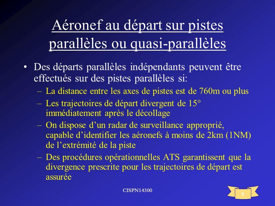 CISPN14300 8 Aéronef au départ sur pistes parallèles ou quasi-parallèles Des départs parallèles indépendants peuvent être effectués sur des pistes par