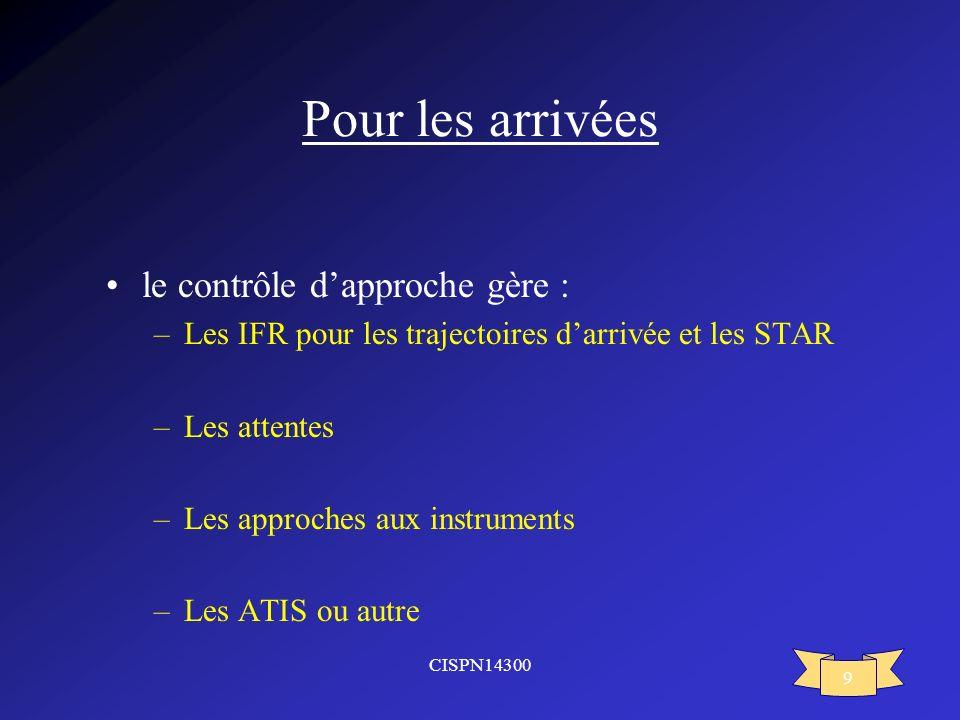 CISPN14300 9 Pour les arrivées le contrôle dapproche gère : –Les IFR pour les trajectoires darrivée et les STAR –Les attentes –Les approches aux instr