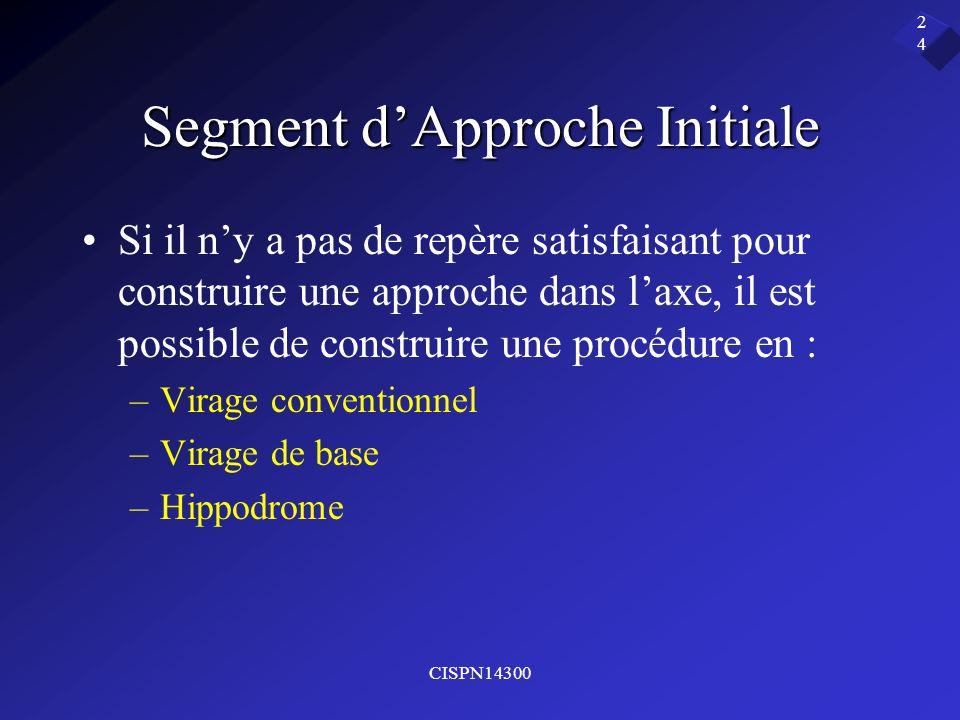 CISPN14300 24 Segment dApproche Initiale Si il ny a pas de repère satisfaisant pour construire une approche dans laxe, il est possible de construire u