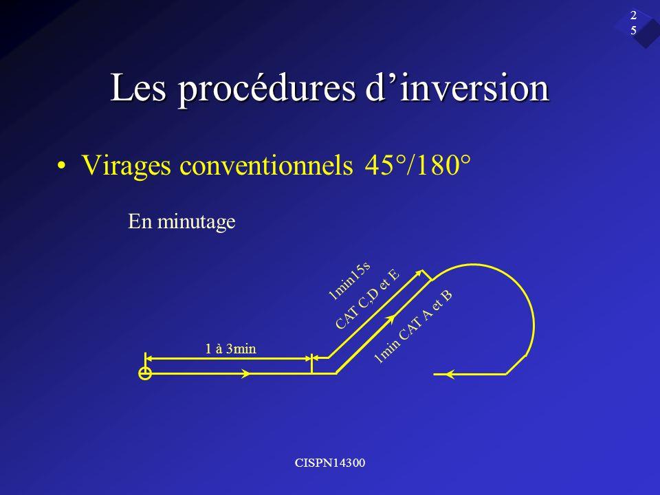 CISPN14300 25 Les procédures dinversion Virages conventionnels 45°/180° En minutage 1 à 3min 1min15s CAT C,D et E 1min CAT A et B