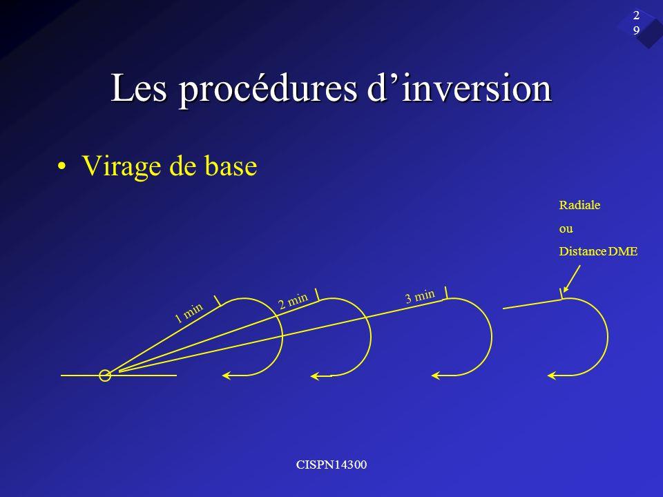 CISPN14300 29 Les procédures dinversion Virage de base 1 min 2 min 3 min Radiale ou Distance DME