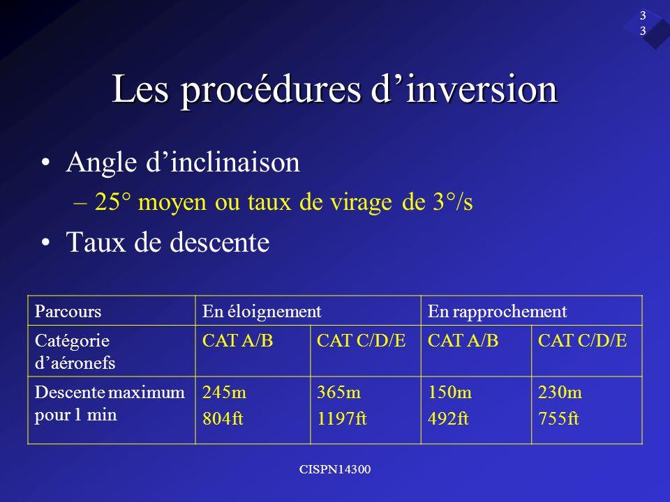 CISPN14300 33 Les procédures dinversion Angle dinclinaison –25° moyen ou taux de virage de 3°/s Taux de descente ParcoursEn éloignementEn rapprochemen