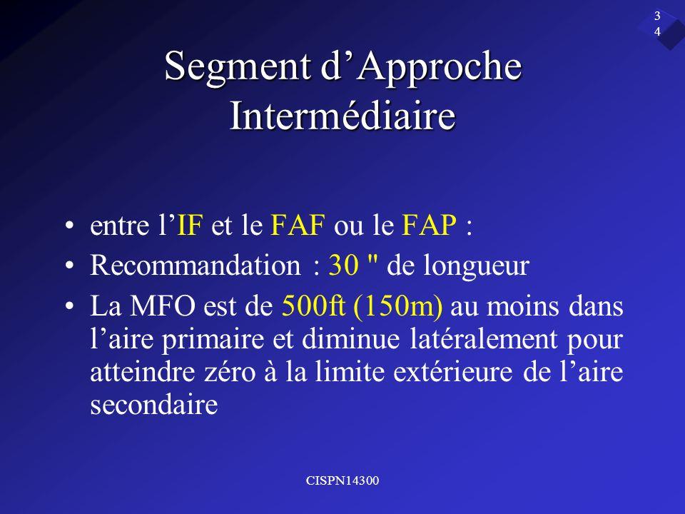 CISPN14300 34 Segment dApproche Intermédiaire entre lIF et le FAF ou le FAP : Recommandation : 30