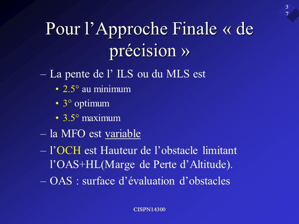 CISPN14300 37 Pour lApproche Finale « de précision » –La pente de l ILS ou du MLS est 2.5° au minimum 3° optimum 3.5° maximum –la MFO est variable –lO