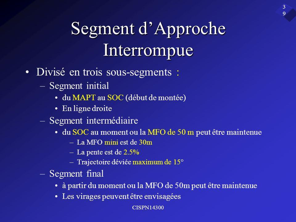 CISPN14300 39 Segment dApproche Interrompue Divisé en trois sous-segments : –Segment initial du MAPT au SOC (début de montée) En ligne droite –Segment