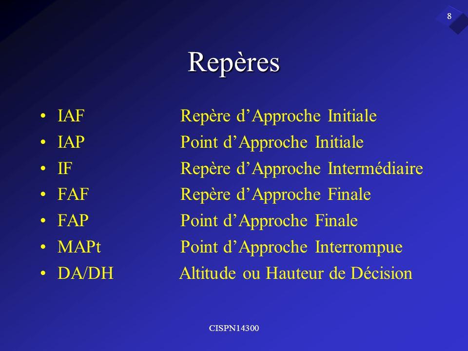 CISPN14300 8 Repères IAFRepère dApproche Initiale IAPPoint dApproche Initiale IFRepère dApproche Intermédiaire FAFRepère dApproche Finale FAPPoint dAp