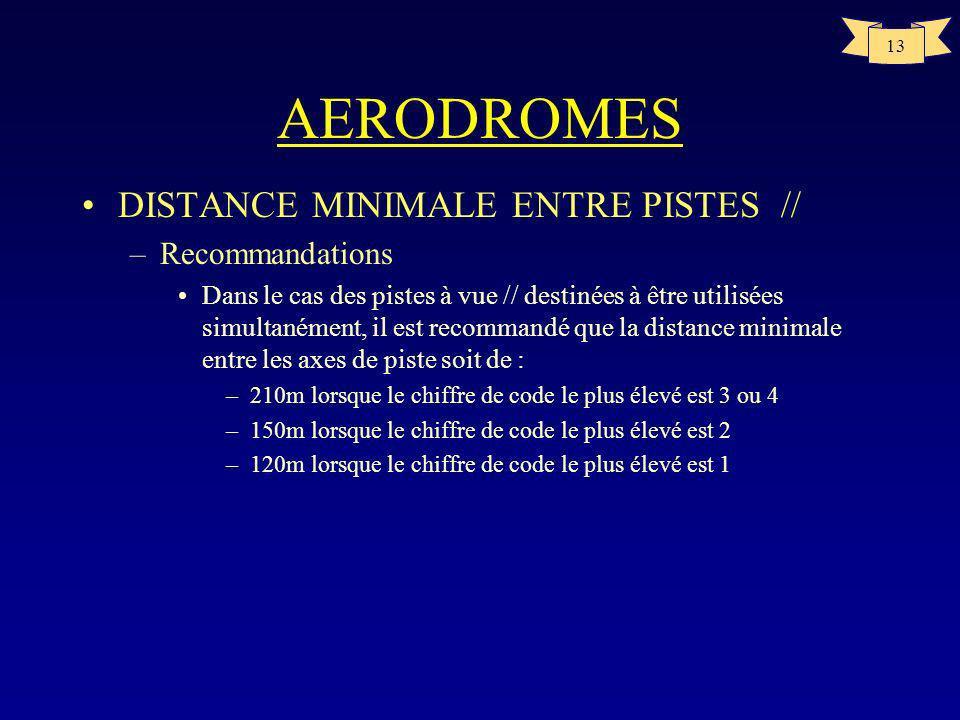 12 AERODROMES CARACTERISTIQUES PHYSIQUES DES PISTES code ABCDE 118m 23m-- 2 30m-- 3 45m- 4-- La largeur dune piste avec approche de précision ne devra