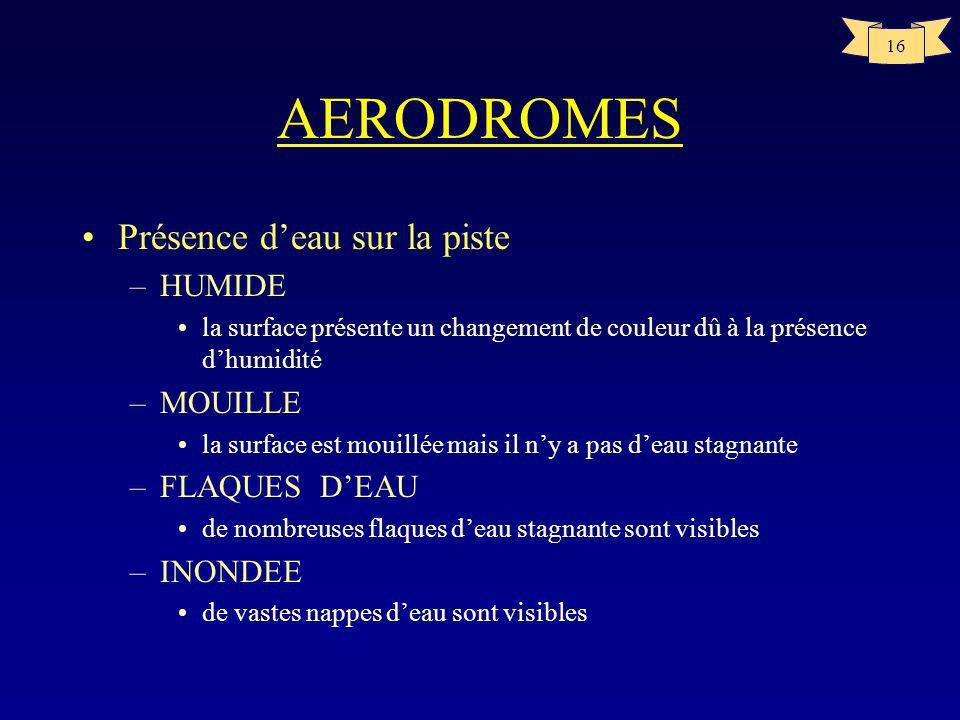 15 AERODROMES Pente longitudinale –Recommandation <1% lorsque le chiffre de code est 3 ou 4 <2% lorsque le chiffre de code est 1 ou 2