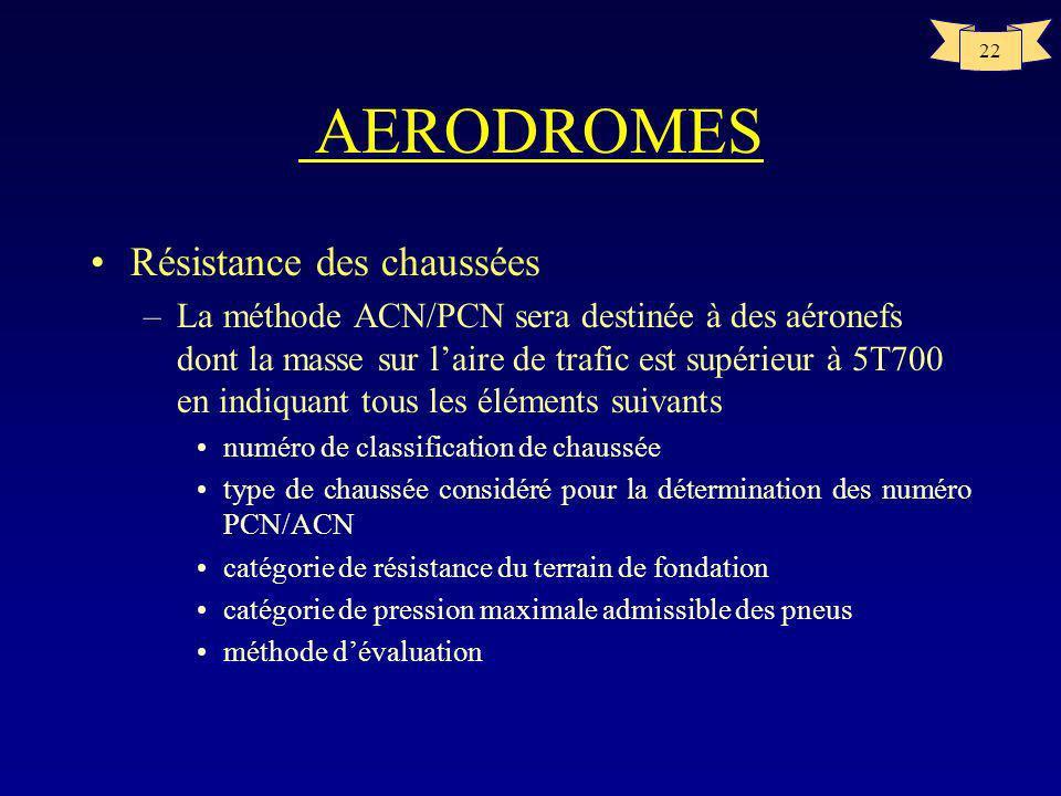 21 AERODROMES Résistance des chaussées –PCN : Numéro de classification de chaussée Nombre qui exprime la force portante dune chaussée pour une exploit