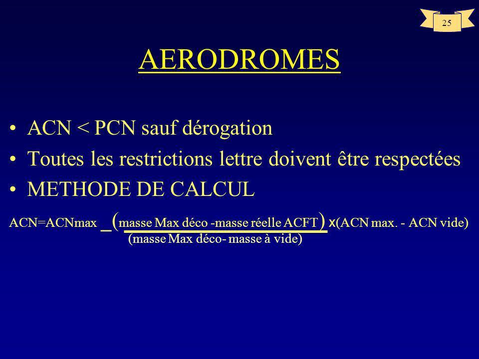 24 AERODROMES –CATEGORIE DE PRESSION MAXIMALE ADMISSIBLE DES PNEUS Wélevéepas de limite Xmoyenne1,5MPa Yfaible1,0MPa Z très faible0,5MPa –EVALUATION T