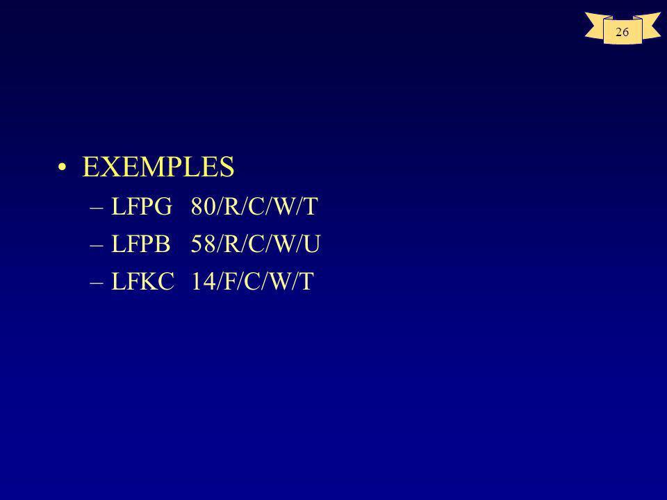 25 AERODROMES ACN < PCN sauf dérogation Toutes les restrictions lettre doivent être respectées METHODE DE CALCUL ACN=ACNmax _( masse Max déco -masse r